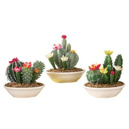 Set of 3 Faux Fake Flowering Cactus Plants in Pots | Walmart (US)