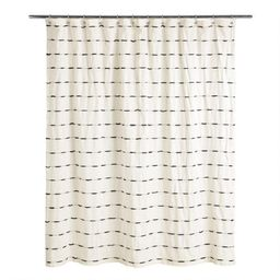 Ivory and Black Woven Stripe Taylor Shower Curtain | World Market