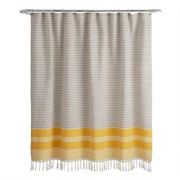 Gray and Yellow Woven Stripe Blaine Shower Curtain | World Market