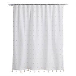 White and Ivory Embroidered Pom Pom Ellie Shower Curtain | World Market