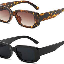 KUGUAOK RetroRectangle Sunglasses Women and Men Vintage Small Square Sun Glasses UV Protection ... | Amazon (US)