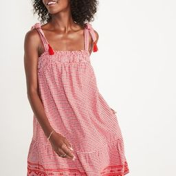 Sleeveless Tiered Gingham Swing Mini Dress for Women   Old Navy (US)