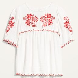 Oversized Embroidered Short-Sleeve Blouse for Women   Old Navy (US)