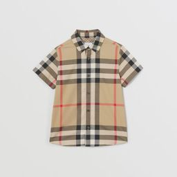 Short-sleeve Check Stretch Cotton Shirt in Archive Beige   Burberry United States   Burberry (US)