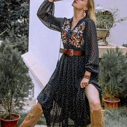 Rusttydustty Fringe Tie Neck Shirred Waist Floral Embroidery Polka Dot Dress   SHEIN