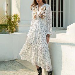 Rusttydustty Tie Neck Shirred Waist Floral Embroidery Allover Print Dress   SHEIN