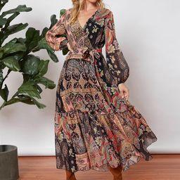 SHEIN Allover Print Lantern Sleeve Belted Dress   SHEIN