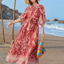 SHEIN Tie Neck Tassel Trim Lantern Sleeve Belted Paisley & Floral Dress   SHEIN