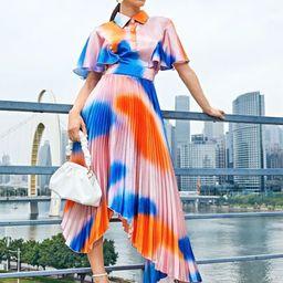 SHEIN Tie Dye Flutter Sleeve Asymmetrical Pleated Hem Dress   SHEIN