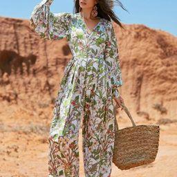 SHEIN Fold Pleated Wide Leg Tropical Print Jumpsuit   SHEIN