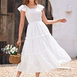 SHEIN Frill Trim Shirred Bodice Layered Hem Schiffy Dress   SHEIN