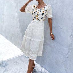 Floral Embroidery Ruffle Hem Dress   SHEIN