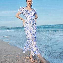Allover Floral Mermaid Hem Dress   SHEIN