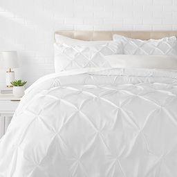 Amazon Basics Pinch Pleat Down-Alternative Comforter Bedding Set - Full / Queen, Bright White | Amazon (US)