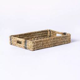 Manmade Outdoor Wicker Tray Gray Stripes - Threshold™ designed with Studio McGee   Target
