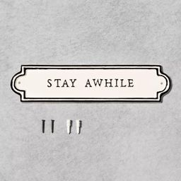 'Stay Awhile' Wall Sign Cream/Black - Hearth & Hand™ with Magnolia | Target