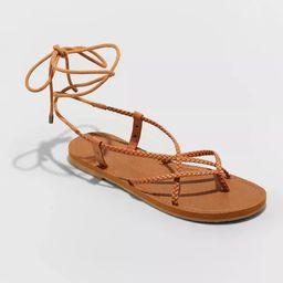 Women's Tegan Braided Lace Up Sandals - Universal Thread™ Cognac | Target