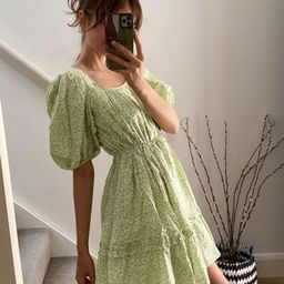 & Other Stories ditsy floral print mini swing dress in green   ASOS (Global)