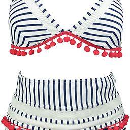 COCOSHIP Women's Mesh Striped High Waist Bikini Set Tassel Trim Top Halter Straps Swimsuit(FBA) | Amazon (US)