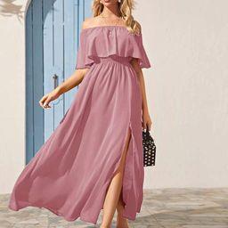 Solid Foldover Split Thigh Bardot Dress | SHEIN