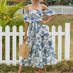 Floral Bardot Shirred Back Belted Ruffle Hem Dress | SHEIN