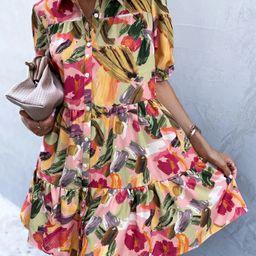 Brush Print Puff Sleeve Smock Dress | SHEIN