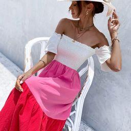 Off-shoulder Shirred Color-block Dress   SHEIN