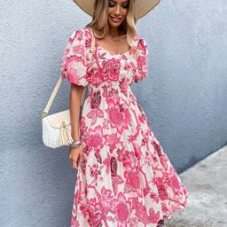 Sweetheart Neck Puff Sleeve Floral Dress | SHEIN