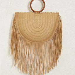 Fringe Decor Plaited Straw Bag   SHEIN
