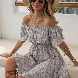 Ditsy Floral Off Shoulder Ruffle Hem Dress   SHEIN