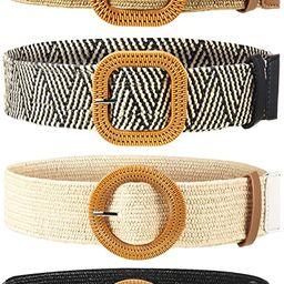 4 Pieces Straw Woven Elastic Stretch Waist Belt Women Skinny Dress Belt Wooden Style Buckle Waist... | Amazon (US)