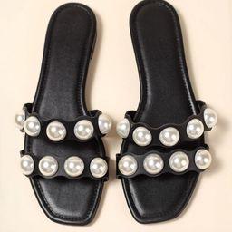Faux Pearl Decor Slide Sandals | SHEIN