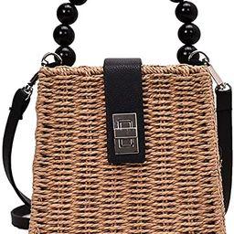QZUnique Women's Bucket Drawstring Handbag Straw Shoulder Bag Straw Weave Crossbody Handbag Beach... | Amazon (US)