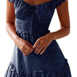 YOBECHO Womens Summer Ruffle Sleeve Sweetheart Neckline Printing Dress Mini Dress | Amazon (US)