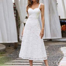 Elegant Beaded Strap Sweetheart Midi Lace Evening Dress   Ever Pretty