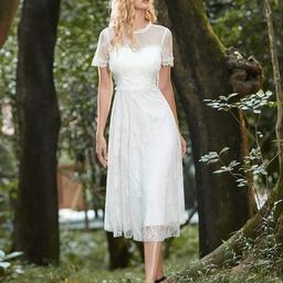Cute Round Neck Midi-Length Lace & Tulle Casual Dress for Wedding   Ever Pretty
