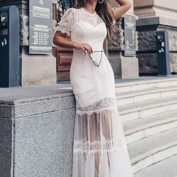 Women's Dainty A-Line Lace Midi Casual Dress with Short Sleeves   Ever Pretty