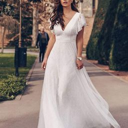 Elegant Maxi Lace Elopement Wedding Dress with Ruffle Sleeves   Ever Pretty