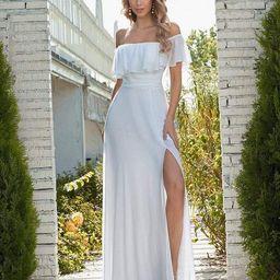 Plain Off Shoulder Chiffon Wedding Dress with Side Split   Ever Pretty