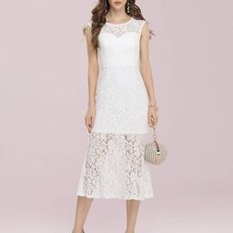 Gorgeous Round Neck Sleeveless Lace Party Dress   Ever Pretty