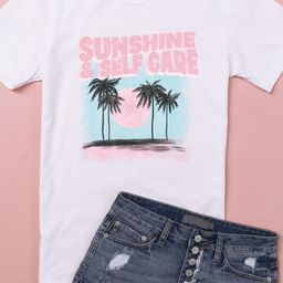Sunshine And Self Care Graphic Tee | The Pink Lily Boutique