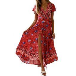 FOCUSNORM Women's Summer Short Sleeve Floral Print Maxi Dress Bohemian Beach Waist Tie Wrap Long ... | Walmart (US)