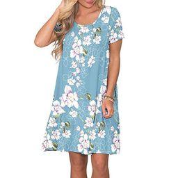 Loose Casual Women T-shirt Dress O-neck Short Sleeve Dress with Pocket | Walmart (US)
