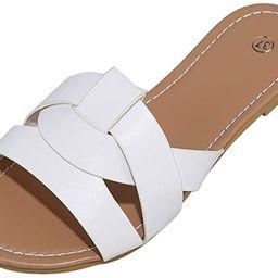 Husmeu Women's Summer Flat Slides Sandals Casual Strap Cross Slip On Sliders Beach Flat Sandals f... | Amazon (US)