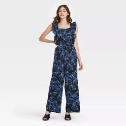 Women's Printed Ruffle Sleeveless Jumpsuit - Who What Wear™ Blue   Target