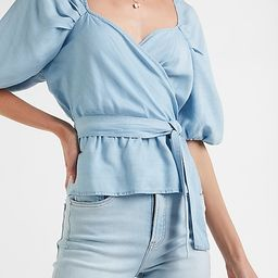 Denim Belted Puff Sleeve Wrap Front Top | Express