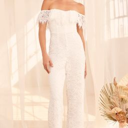 Seal My Fate White Lace Off-the-Shoulder Jumpsuit | Lulus (US)
