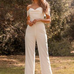 Winning Love Ivory Off-the-Shoulder Wide-Leg Jumpsuit | Lulus (US)