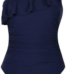 Hilor Women's One Piece Swimsuits One Shoulder Swimwear Asymmetric Ruffle Monokinis Bathing Suits   Amazon (US)