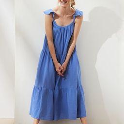 Frill-Sleeve Gauze Tiered Midi Dress | Banana Republic Factory